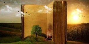 Immagine fantastica di un grande libro dal quale le immagini prendono forma